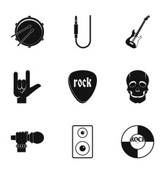 rock music icon set simple style vector image