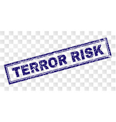 Scratched terror risk rectangle stamp vector
