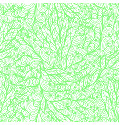 seamless floral monochrome green doodle pattern vector image
