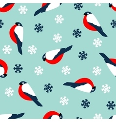 Seamless pattern decoration of red bullfinch bird vector