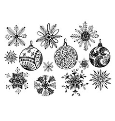 set of doodle christmas snowflake and balls vector image