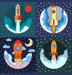set of four space rocket ships vector image