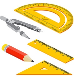 Set of Isometric measuring tools rulers triangles vector