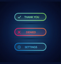 set of modern neon glowing buttons vector image