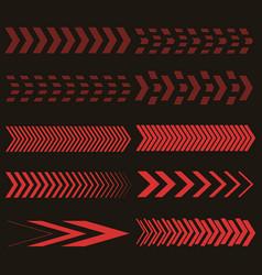 Set of red arrows vector