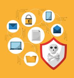 Set spectre and meltdown cyber crime virus vector