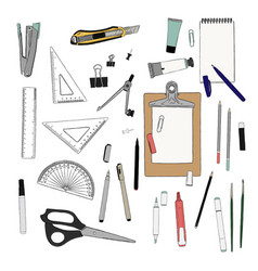 Set stationary hand draw element sketch vector