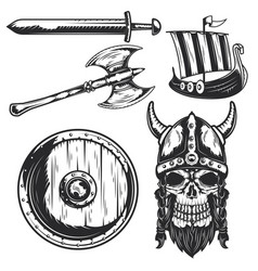 set viking elements for creating your own logos vector image