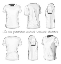 Six views of white t-shirt vector