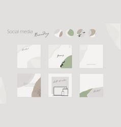 Social media branding template in earthy neutral vector