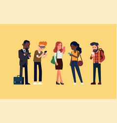 Standing people checking phones vector