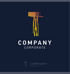 t company logo design with visiting card vector image
