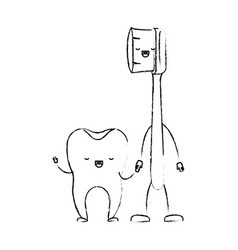 tooth and toothbrush in cartoon holding hands in vector image