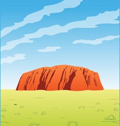 Uluru outback central australia scene vector