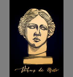 Venus de milo head sculpture drawn in engraving vector