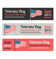 Veterans day web banner set vector