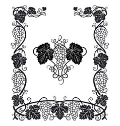 Vine grapes and leaves frame vector