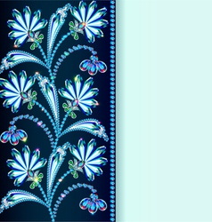 Vintage background with flowers made of precious s vector