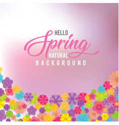 Water color nature background with spring flowers vector