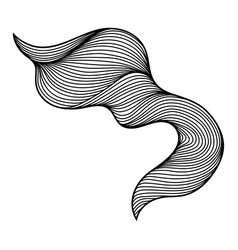 Wave hair line curl vector