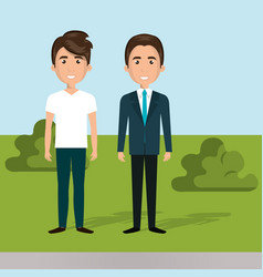 Young men in the field characters scene vector