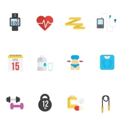 Fitness and health icons with white background vector