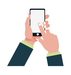 hand finger touch display smartphone vector image