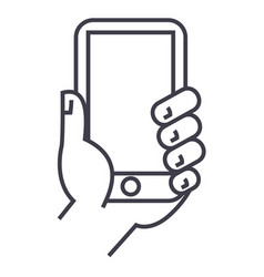 hand holding phone line icon sign vector image vector image