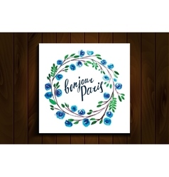 lettering Hello Paris frame watercolor flowers vector image vector image
