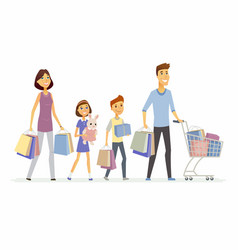 family goes shopping - cartoon people characters vector image vector image