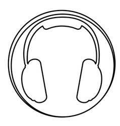 figure headphone emblem icon vector image