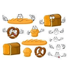 Fresh baked bread loaf cupcake and pretzel vector image vector image