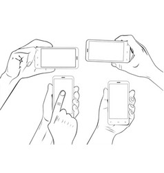 hand gestures holding smartphone sketch vector image vector image