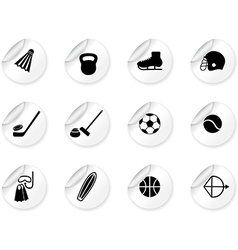 Stickers with sport equipment icons vector image vector image