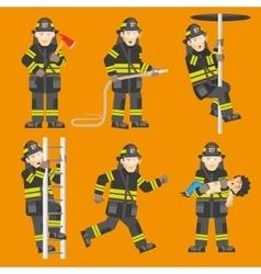 Fireman In Action 6 Figures Set vector image vector image
