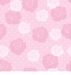 Floral pattern pink roses white polka dots vector image vector image