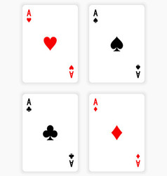 Four Aces Playing Cards on White Background vector image vector image