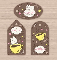 hand drawn set of tags with cute cat and cup of vector image