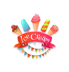 Ice cream banner with red ribbon vector image vector image