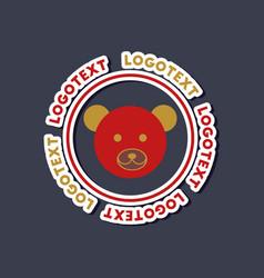 paper sticker on stylish background bear logo vector image vector image