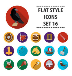 vikings set icons in flat style big collection of vector image vector image