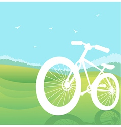 bicycle silhouette summer landscape vector image vector image