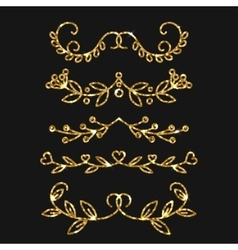 Dividers set gold ornate design Golden vector image vector image