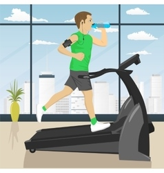 man at gym doing exercise on the treadmill vector image