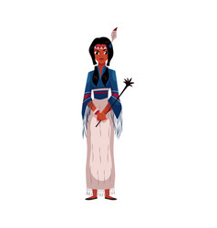native american indian woman in national fringed vector image vector image