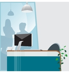 Office Work Place with Computer and Plant vector image vector image