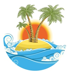 Tropical island symbol seascape with sun isolated vector image vector image
