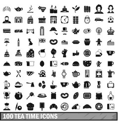 100 tea time food icons set in simple style vector image