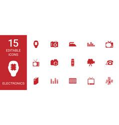 15 electronics icons vector image