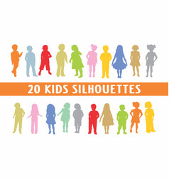 20 kids in different poses set of shapes vector